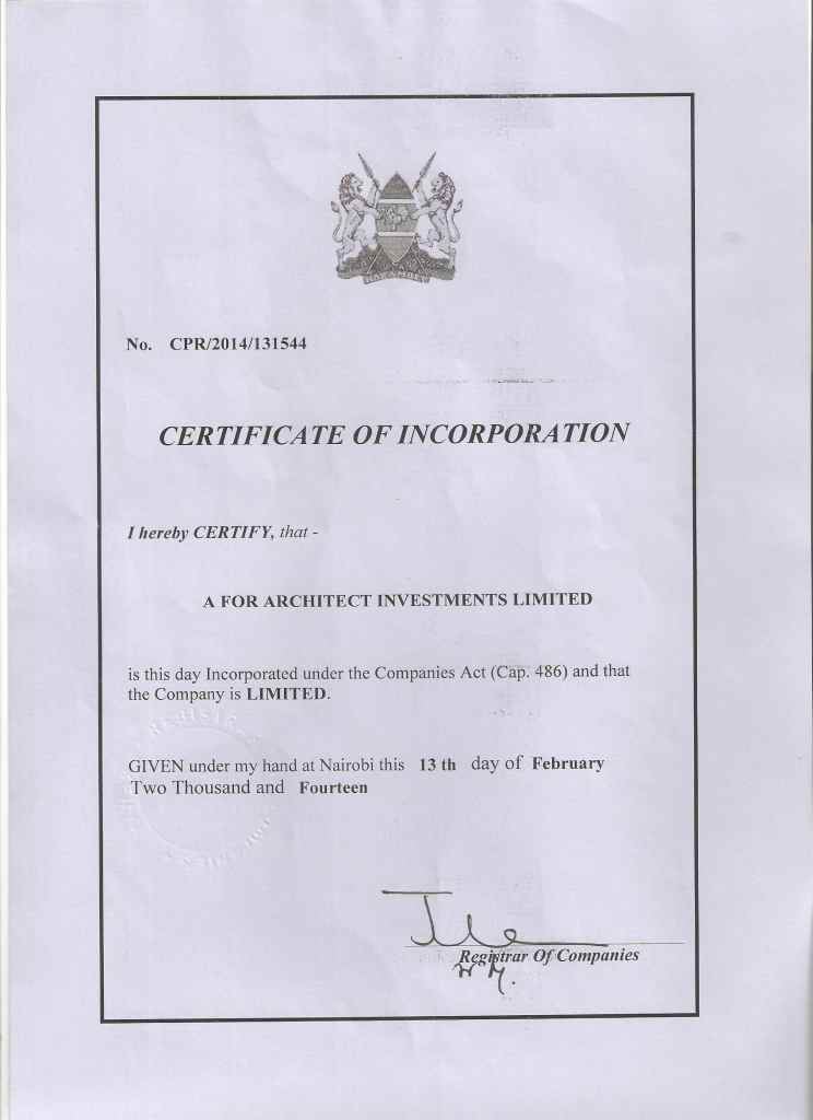 Incorpration Cert- A for Architect Investments Ltd