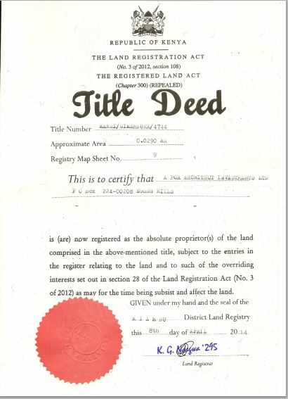 title deed a4architect